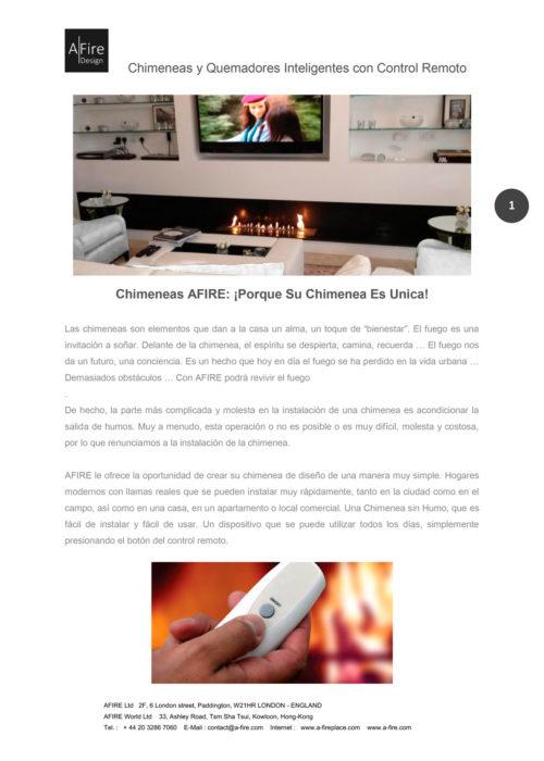 Portada del catálogo Afire 2015 - chimeneas y quemadores inteligentes
